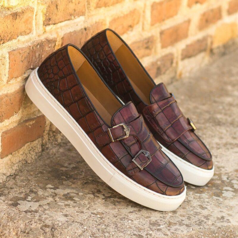 Custom Made Men's Monk Sneaker in Burgundy Painted Croco Embossed Calf Leather