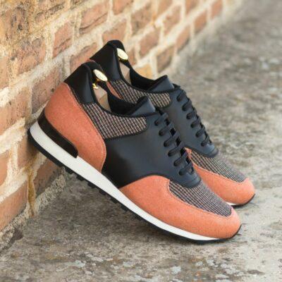Custom Made Men's Sneaker in Black Box Calf, Orange Linen, and Tweed