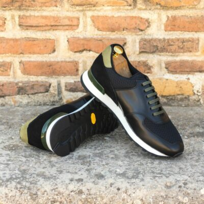 Custom Made Men's Sneaker in Black Box Calf with Black and Khaki Suede
