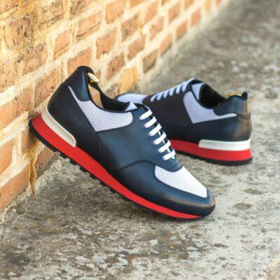 Custom Made Men's Sneaker in Navy Blue Box Calf and White Sport Mesh