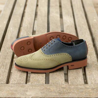 Custom Made Men's Wingtip in Khaki Kid Suede and Navy Blue Pebble Grain Leather