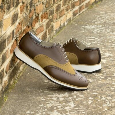 Custom Made Men's Wingtips in Dark Brown Painted Calf and Mustard Luxe Suede