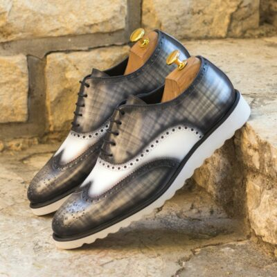 Custom Made Men's Wingtips in Italian Calf Leather with a Grey Hand Patina and White Box Calf