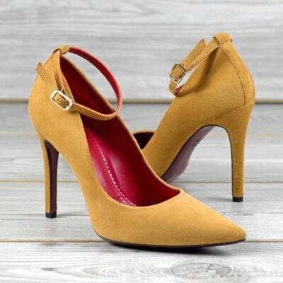 Custom Made Women's Florence High Heel in Sand Italian Suede