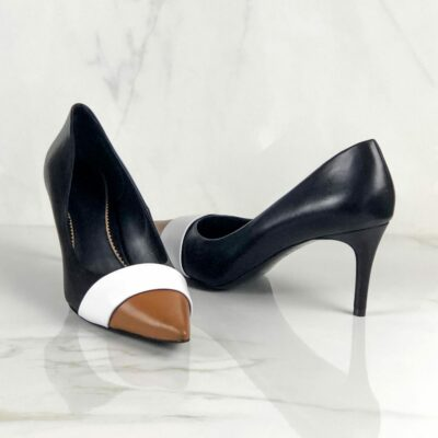 Custom Made Women's Milan High Heel in Pure White, Sand, and Black Nappa Leather