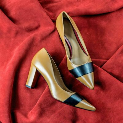 Custom Made Women's Milan High Heel in Sand and Black Nappa Leather