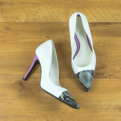 Custom Made Women's Milan High Heel in White Nappa Leather and Lilac Cascabel