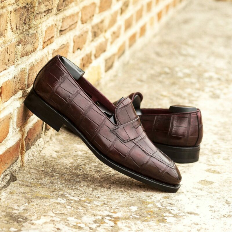 Custom Made Goodyear Welted Loafers in Burgundy Genuine Alligator with Beveled Waist and Metal Toe Taps