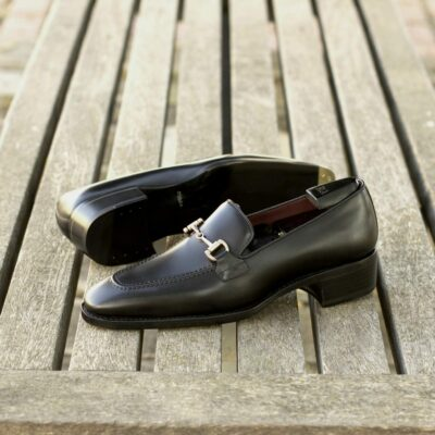 Custom Made Men's Goodyear Welted Loafers in Black Box Calf with Metal Toe Taps