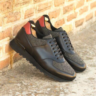 Custom Made Men's Sneaker in Black and Red Polished Calf and Herringbone