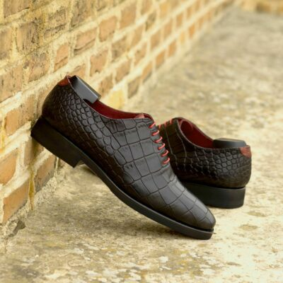 Custom Made Men's Wholecut Dress Shoes in Black and Red Croco Embossed Calf