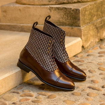 Custom Made Balmoral Boot in Houndstooth with Burgundy and Black Polished Calf Leather