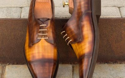 Custom-Made-Derby-in-Italian-Raw-Crust-Leather-with-a-Brown-and-Cognac-Hand-Patina-Finish