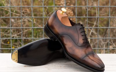 Custom Made Goodyear Welt Oxford in Italian Raw Crust Leather with a Tobacco Museum Hand Patina and Metal Toe Taps