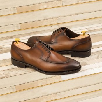 Custom Made Goodyear Welt Split Toe Derby in Medium Brown Painted Calf Leather 1