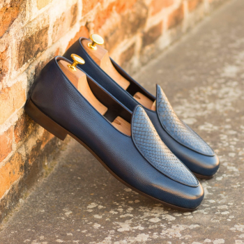 Custom Made Men's Belgian Slipper in Navy Blue Genuine Python with Navy Blue Painted Full Grain Leather