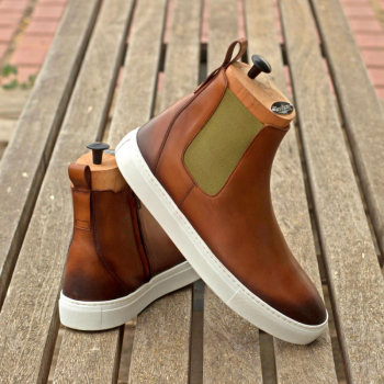 Custom Made Men's Chelsea Sport Boot in Burnished Medium Brown Painted Calf Leather