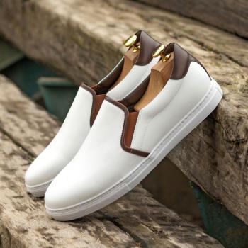Custom Made Men's Cupsole Slip On in White and Dark Brown Box Calf