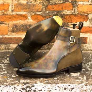 Custom Made Men's Goodyear Welt Jodhpur Boot in Italian Calf Leather with a Green Hand Patina Finish and Khaki Luxe Suede with Metal Toe Taps