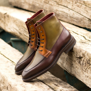 Custom Made Men's Goodyear Welt Moc Boot in Burnished, Olive, Burgundy, and Cognac Painted Calf Leather
