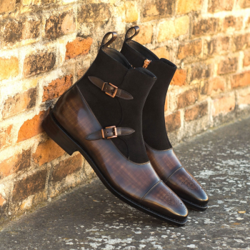 Custom Made Men's Goodyear Welted Octavian Boot in Italian Calf Leather with Brown Hand Patina and Black Luxe Suede