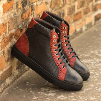 Custom Made Men's High Kick in Black and Red Genuine Python