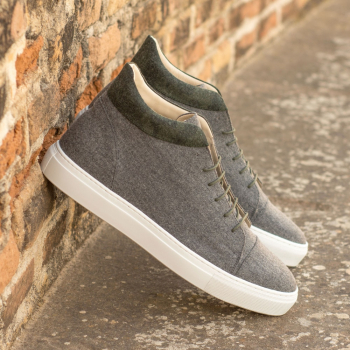 Custom Made Men's High Top in Light Grey and Camo Flannel