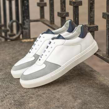Custom Made Men's Low Top Trainer in White and Navy Blue Box Calf with Light Grey Kid Suede