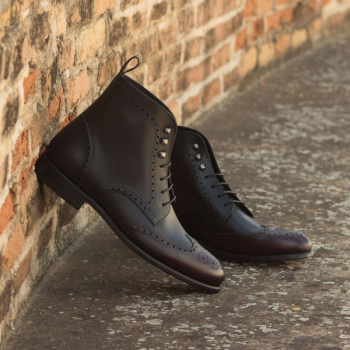 Custom Made Military Brogue Boot in Burgundy and Black Painted Calf Leather