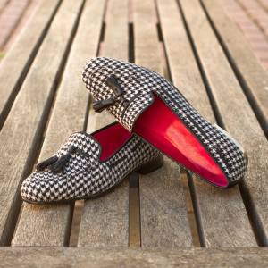 Custom Made Rose Slipper in Houndstooth with Black Calf Leather Tassels
