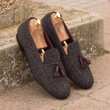 Custom Made Wellington Slippers in Nailhead Wool and Brown Calf Leather