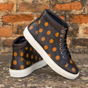 Custom Made Women's High Top in Black Painted Calf with Stencil Art