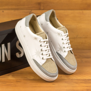 Custom Made Women's Tennis Shoe in White Box Calf with Stenciled Stars, Ice Linen and Light Grey Suede